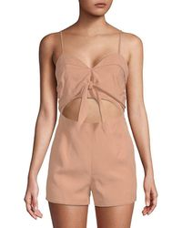 Lovers + Friends - Lovers + Friends On The Go Tie-front Romper - Lyst