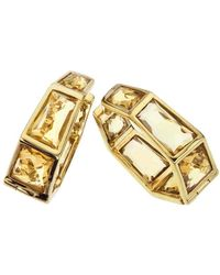 Jewelista - 18k Vermeil Honey Quartz Medium Hoop Earrings - Lyst