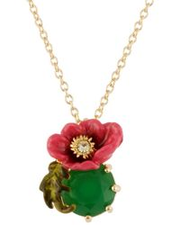 Les Nereides - Dazzling Discretion Large Pink Flower With Green Stone Short Necklace - Lyst