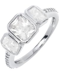 Peermont - White Gold & Princess-cut Cz Triple Stone Eternity Ring - Lyst