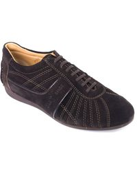 Car Shoe - By Prada Brown Web Stitched Suede Sneakers - Lyst