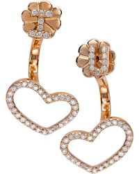 CR By Casa Reale - 18 K Gold White Diamond I Heart U Jacket Earrings - Lyst