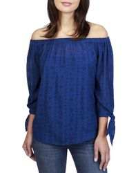 Lucky Brand - Womens Off-the-shoulder Three-quarter Sleeve Peasant Top - Lyst