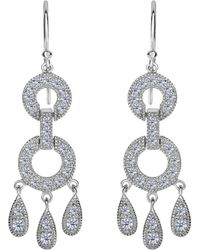 Jewelry Affairs - Sterling Silver And Cubic Zirconia Chandelier Drop Earrings - Lyst