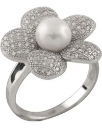 Splendid - Micropave Cz Flower Shaped Pearl Ring - Lyst