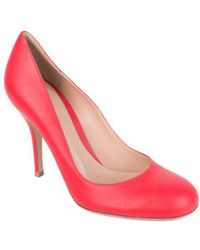 Gianvito Rossi - Red Smooth Semi-matte Leather Almond Toe Pumps - Lyst