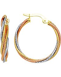Jewelry Affairs - 10k 3 Tone White, Yellow And Rose Gold Triple Braided Cables Round Hoop Earrings, Diameter 23mm - Lyst
