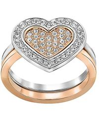 Swarovski - Crystal Plated Stainless Steel Heart Ring - Lyst