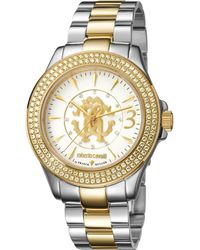 Roberto Cavalli - Womens Two-tone Silver/gold Watch With Silver Dial - Lyst