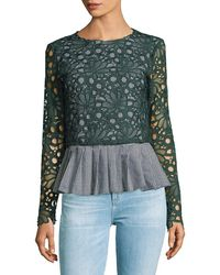 English Factory - Long Sleeve Pleated Top - Lyst