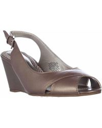 Easy Spirit - Belsina Peep Toe Wedge Slingback Dress Court Shoes, Taupe - Lyst