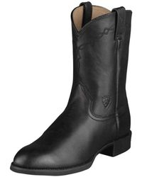 Ariat - Heritage Roper Men 2e Round Toe Leather Black Western Boot - Lyst
