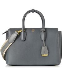 MCM - Women's Grey Leather Tote - Lyst