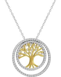 Amanda Rose Collection - Two Tone 3-in-1 Cz Tree Of Life Pendant-necklace In Sterling Silver On A 18 In. Chain - Lyst