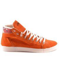 Springa - Women's Orange Suede Hi Top Sneakers - Lyst