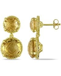 Catherine Malandrino - Citrine Circle Earrings In Yellow Plated Sterling Silver - Lyst