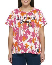 Tommy Hilfiger - Womens Plus Printed Scoop Neck T-shirt - Lyst