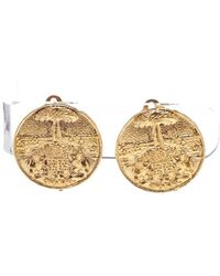 Chanel - Gold Textured Medallion Clip On Disc Earrings - Lyst
