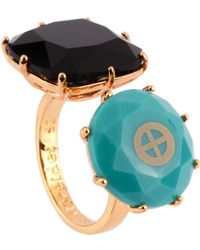 Les Nereides - Special La Diamantine Black And Blue Stone With Symbole Of Earth Toi Et Moi Ring - Lyst
