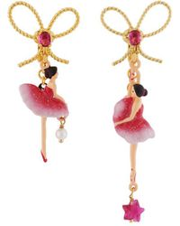 Les Nereides - Pas De Deux Grenadine Pink Asymmetrical Ballerina Earrings - Lyst