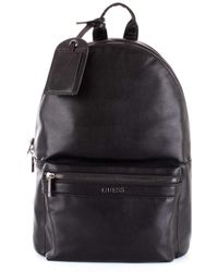 Guess - Men's Black Leather Backpack - Lyst
