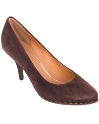 Givenchy - Brown Suede Zipper Trimmed Mid Pumps - Lyst