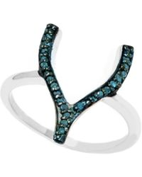 Barzel - Sterling Silver 0.2cttw Genuine Wishbone Blue Diamond Ring - Lyst