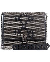 Roberto Cavalli | Women's Small Black Leather Gunmetal Stud Shoulder Bag | Lyst