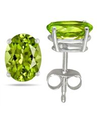 Tia Collections - 7x5 Oval Shape Peridot Earrings In 14k White Gold - Lyst