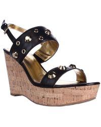 Ivanka Trump - Gitty Platform Studded Wedge Sandals, Black - Lyst