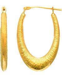 Jewelry Affairs - 14k Yellow Gold Graduated Textured Oval Hoop Earrings - Lyst