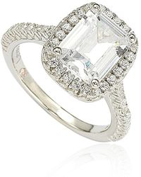 Suzy Levian - Bridal Sterling Silver Emerald-cut White Cubic Zirconia Halo Engagement Ring - Lyst
