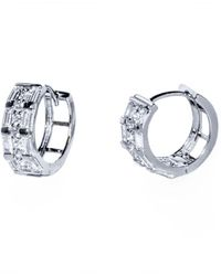Barzel - 18k White Gold Plated Sterling Silver Rodium Plated Cz Huggies Earring - Lyst