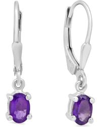Amanda Rose Collection - Amethyst Leverback Earrings In Sterling Silver (7/8ct Tw) - Lyst