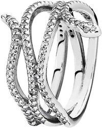PANDORA - Silver Cz Snake Ring - Lyst