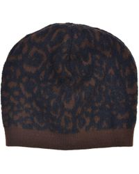 Roberto Cavalli - Brown Black Animal Print Wool Blend Hat - Lyst