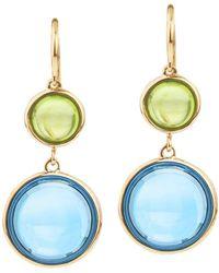 Jewelista - Goshwara 18k Yellow Gold, Blue Topaz & Peridot Drop Earrings - Lyst