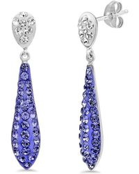 Amanda Rose Collection - Sterling Silver Purple Crystal Drop Earrings Made With Swarovski Crystals - Lyst