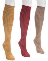Muk Luks - Women's Waffle Knee High Sock Pack (3 Pair) - Lyst