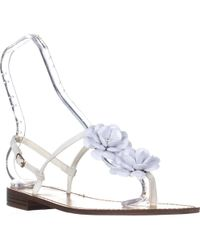 ee3a6242aedbd Callisto - Poli T-strap Flower Sandals - White - Lyst