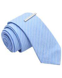 Skinny Tie Madness - Take My Breath Array Krinkle Stripe Skinny Tie With Tie Clip - Lyst