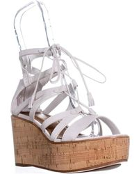 Frye - Heather Gladiator Lace Up Wedges, White - Lyst