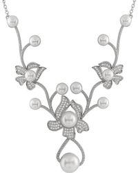 Splendid - Flower Shaped Cz Pearl Masterpiece Necklace - Lyst