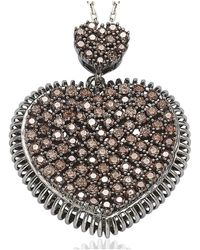 Suzy Levian | Pave Cubic Zirconia Sterling Silver Chocolate Heart Pendant | Lyst