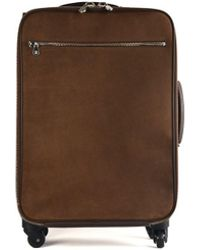 Brunello Cucinelli - Mens Dark Brown Grained Leather Trolley Suitcase Bag - Lyst