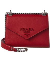 bb4ebaab8d03 new style prada monochrome saffiano leather shoulder bag lyst defc9 94798