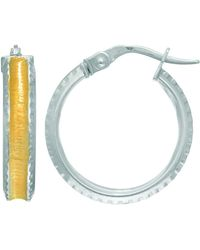 JewelryAffairs | 14k White Yellow Gold Hoop Earrings With Satin Yellow Finish Concaved Center, Diameter 18mm | Lyst