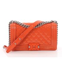 187ea6e97c33a2 Chanel - Pre Owned Boy Flap Bag Quilted Plexiglass Patent Old Medium - Lyst
