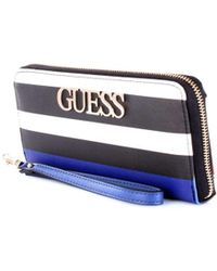 Guess - Women's White/black Leather Wallet - Lyst