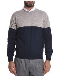 Brunello Cucinelli - Men's Beige/blue Wool Sweater - Lyst